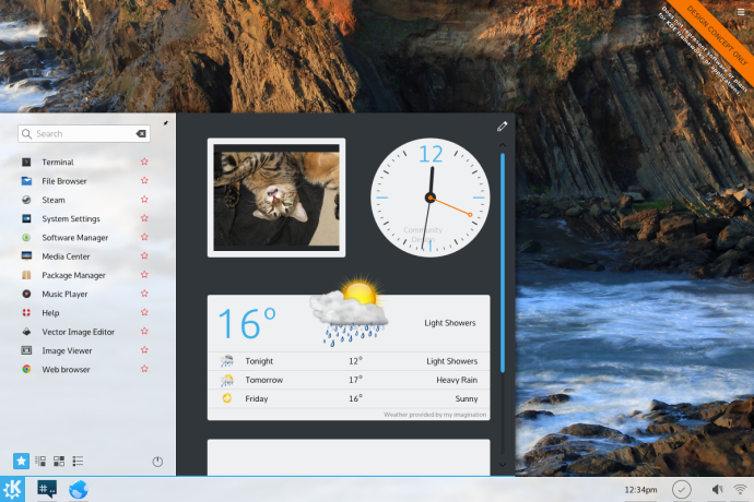 Embedded widgets in a start-menu like launcher