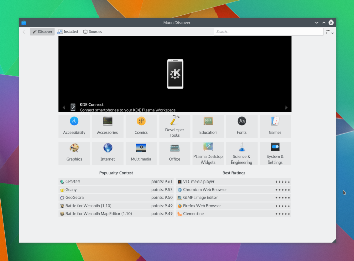 Muon Discover prominently displays cream-of-the-crop KDE apps